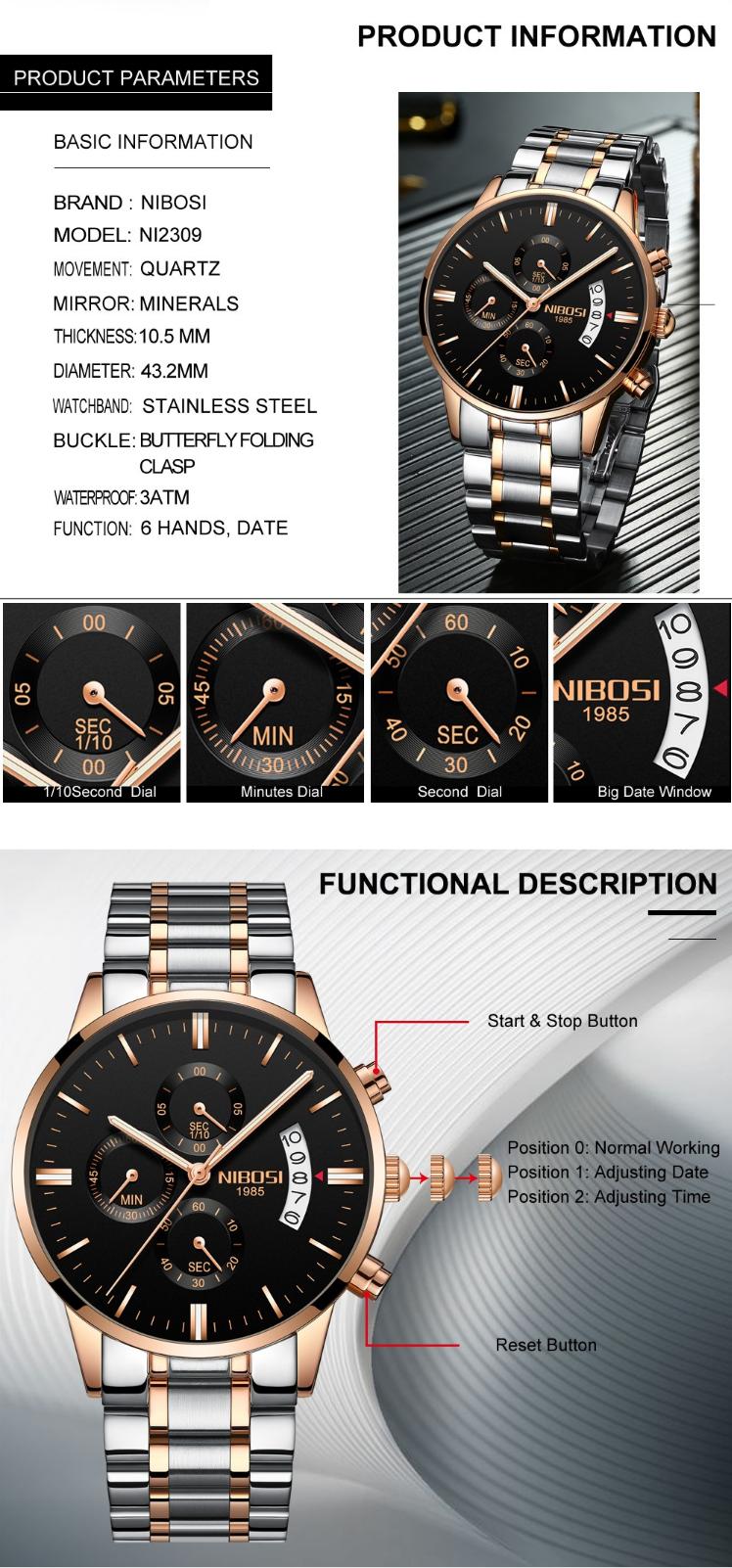 купить мужские часы Nibosi в украине