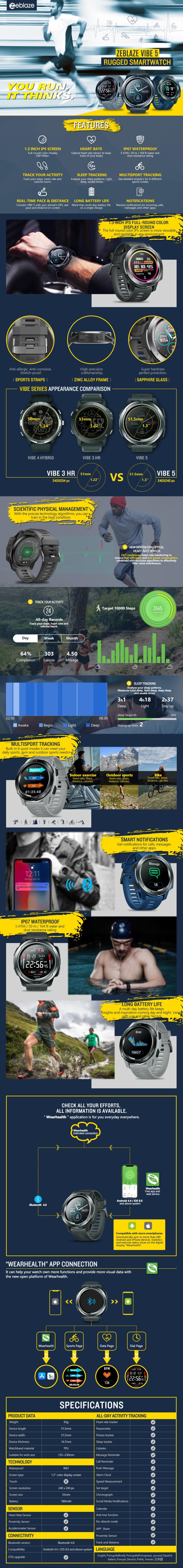 купить часы Zeblaze VIBE 5 в украине