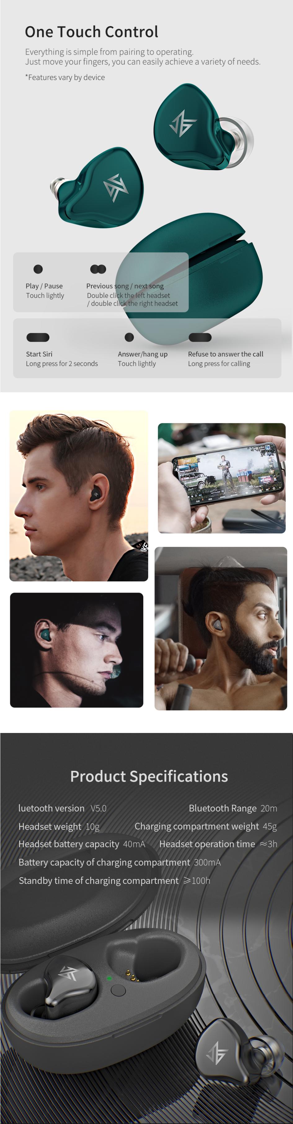 KZ S1 TWS беспроводные наушники Bluetooth 5,0