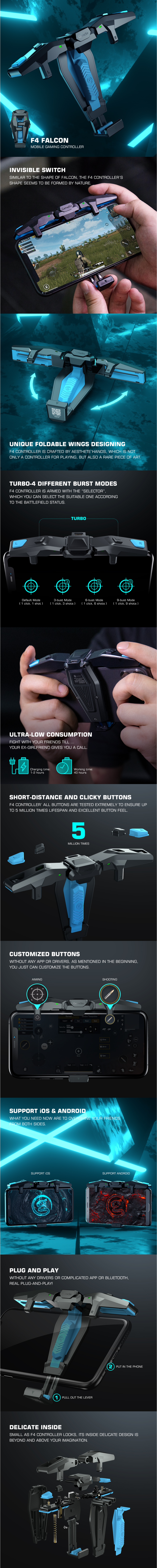Мобильный игровой контроллер GameSir F4 Falcon