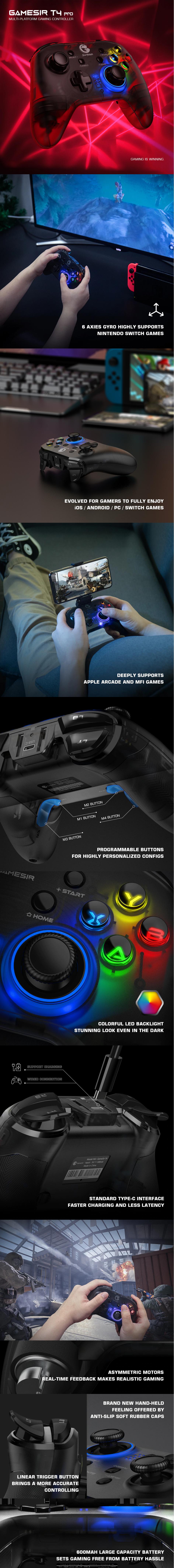 Беспроводной Bluetooth геймпад GameSir T4 Pro с 6 осевым гироскопом купить