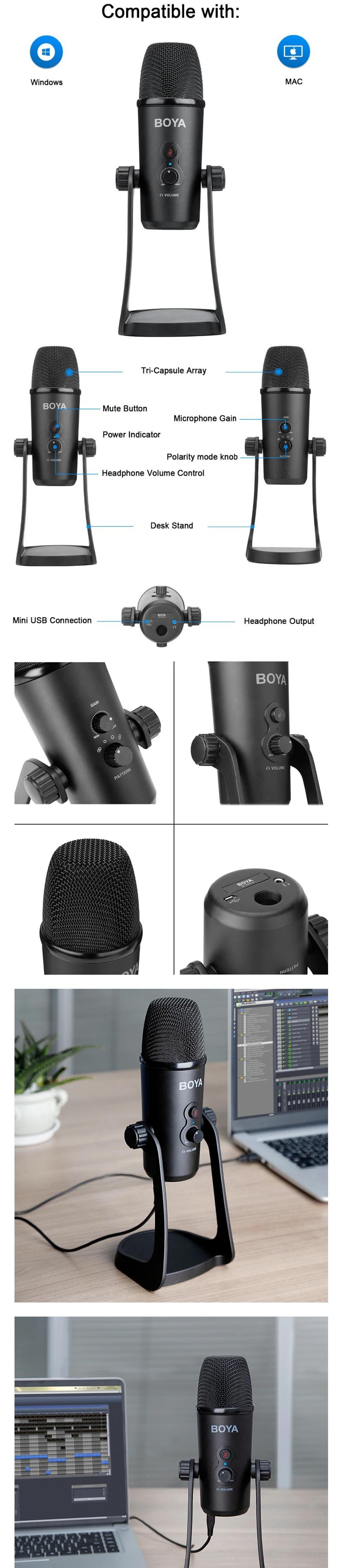 Конденсаторный микрофон BOYA с USB, тройная капсула, для ПК, ноутбука