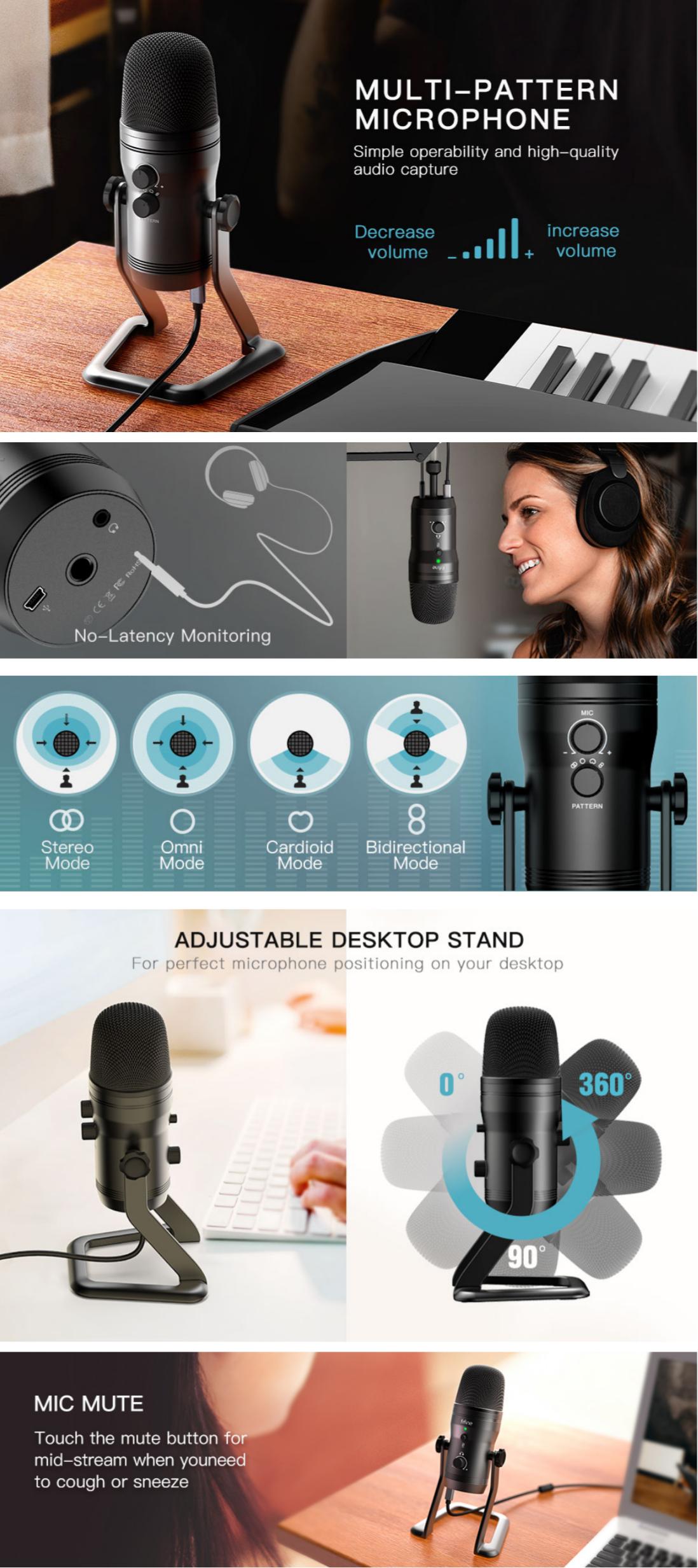 FIFINE USB K690 Studio Recording Microphone Computer