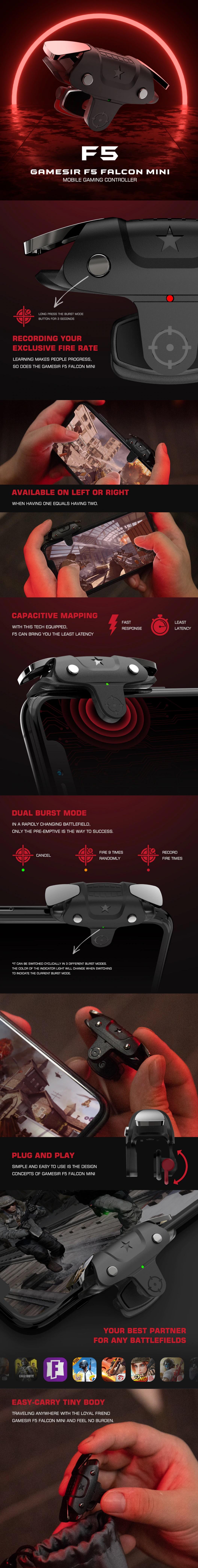 Геймпад GameSir F5 Falcon Mini для мобильных игр, подключи и играй