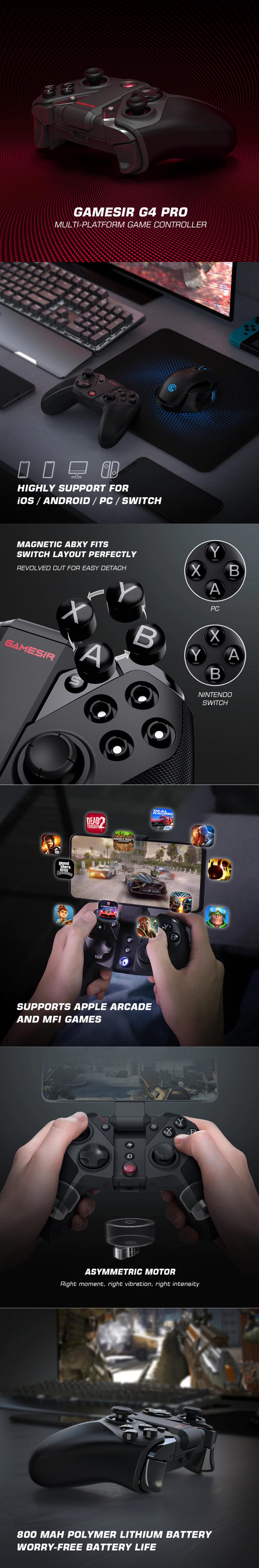 Многоплатформенный игровой контроллер GameSir G4 Pro, беспроводной геймпад